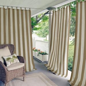 Natural Striped Tab Top Room Darkening Curtain - 50 in. W x 84 in. L