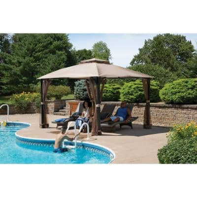 Cypress 10 ft. x 12 ft. Bronze High-Quality Steel Frame Gazebo with Fabric Roof and Mosquito Netting
