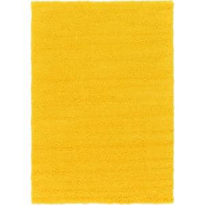 Solid Shag Tuscan Sun Yellow 6 ft. x 9 ft. Area Rug