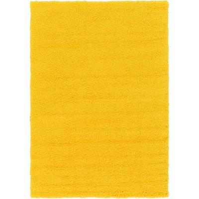Solid Shag Tuscan Sun Yellow 6 ft. x 9 ft. Area Rug