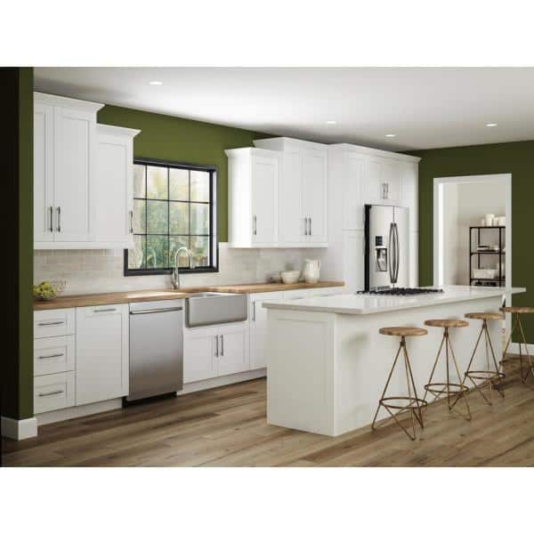 Reviews For Home Decorators Collection Wchester Light Vespar White Thermofoil Plywood Shaker Stock Semi Custom Wall Kitchen Cabinet 36 In W X 12 In D W3630 Wvw The Home Depot