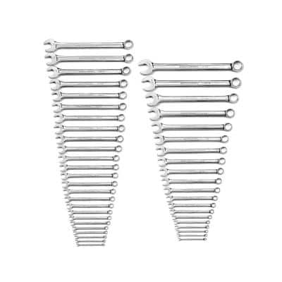12-Point Long Pattern Combination SAE/Metric Wrench Set (44-Piece)
