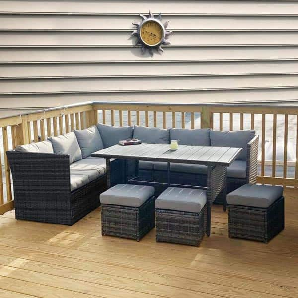 Kingdely Grey 7 Piece Pe Wicker Outdoor, Outdoor Sectional Couch With Dining Table