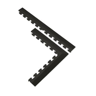 18.4 in. x 18.4 in. Black Commercial PVC Garage Flooring Trim Kit