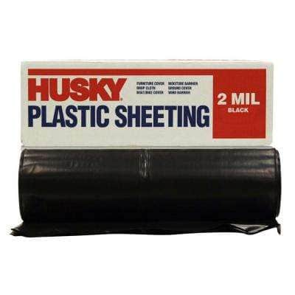 10 ft. x 100 ft. Black 2 mil Plastic Sheeting