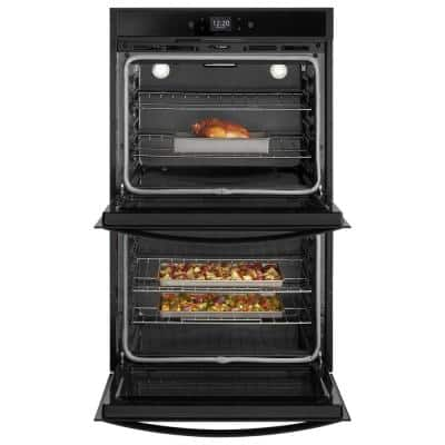 30 in. Smart Double Electric Wall Oven with Touchscreen in Black