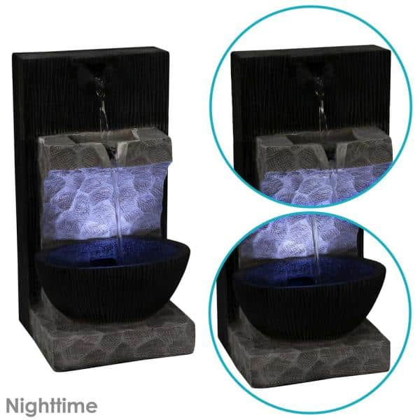 Desk 13-Inch Decorative Home Office Sunnydaze Tranquil Basin Indoor Tabletop Water Fountain with LED Light Table or Countertop Waterfall Feature Accent