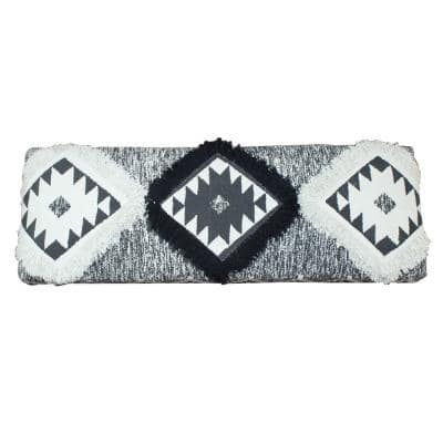 Southwest 18 in. Black and White Cotton Strong Wooden Bench