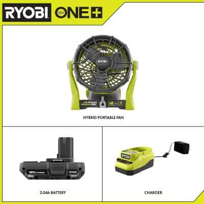ONE+ 18V Hybrid Portable Fan with 2.0 Ah Battery and Charger