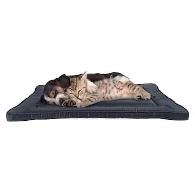 Medium Navy Waterproof Pet Bed Washable Dog Kennel Pad with Raised Edge
