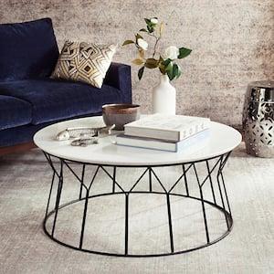 Deion 36 in. White/Black Medium Round Wood Coffee Table with Storage