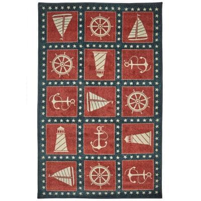 Coastal Americana Navy 5 ft. x 8 ft. Indoor Area Rug