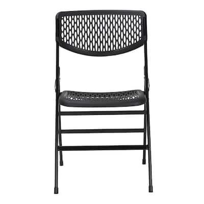 Black Resin Mesh Folding Chair (Set of 2)
