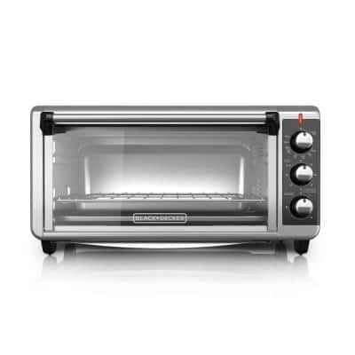 1500 W 8-Slice Stainless Steel Toaster Oven with Broiler