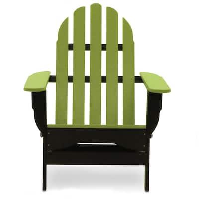 Icon Black and Lime Plastic Folding Adirondack Chair