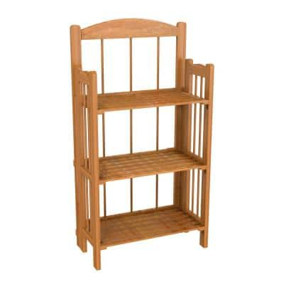 35.75 in. Cedar Wood 3-shelf Accent Bookcase with Open Back