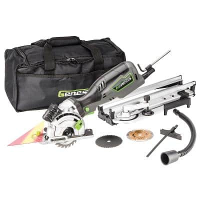 5.8 Amp 3-1/2 in. Control Grip Plunge Compact Circular Saw Kit with Laser, Hose, 3 Blades, Rip Guide and Bag