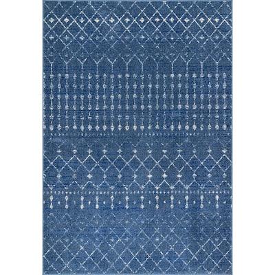 Blythe Modern Moroccan Trellis Dark Blue 8 ft. x 10 ft. Area Rug