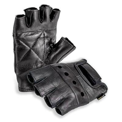 Genuine Grain Leather Half Finger Glove, Black