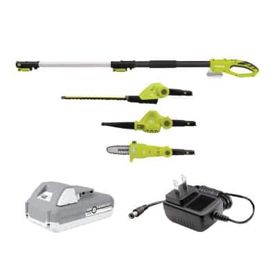 24-Volt Cordless Electric Lawn Care System Hedge Trimmer, Pole Saw, and Leaf Blower Kit with 2.0 Ah Battery + Charger