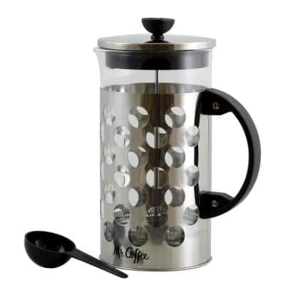 Polka Dot Brew 4-Cup Silver Coffee Press with Scoop