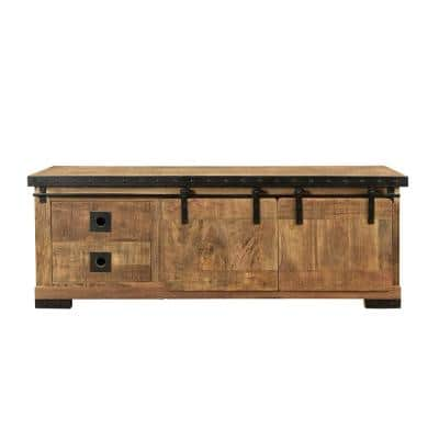 Bowery 55 in. Natural TV Stand with 4 Drawer Fits TV's up to 63 in. with Shelves