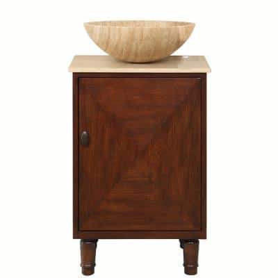 20 in. W x 18 in. D Vanity in English Chestnut with Stone Vanity Top in Travertine with Vessel Stone Basin