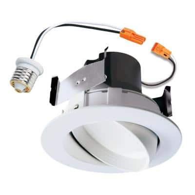 RA 4 in. White Integrated LED Recessed Light Adjustable Gimbal Retrofit Trim with Selectable CCT (2700K-5000K)