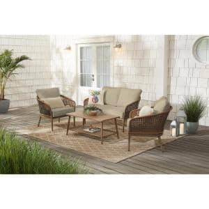 Coral Vista 4-Piece Brown Wicker and Steel Patio Conversation Seating Set with CushionGuard Putty Tan Cushions
