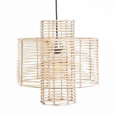Double Cylinder 60-Watt Brown Rattan Integrated LED Pendant