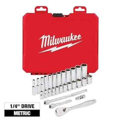 1/4 in. Drive Metric Ratchet and Socket Mechanics Tool Set (28-Piece)