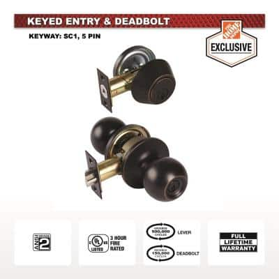 Commercial Aged Bronze Keyed Entry Knob Combo Pack with Single Cylinder Deadbolt