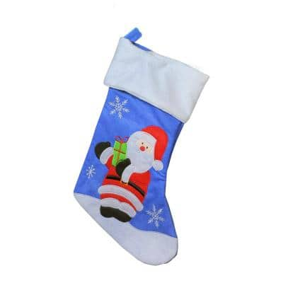 19 in. Blue Red and White Embroidered Polyester Santa Claus Christmas Stocking with White Cuff