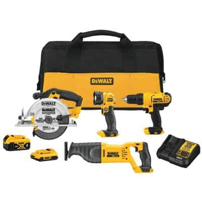 20-Volt MAX Cordless Combo Kit (4-Tool) with (1) 20-Volt 4.0Ah Battery, (1) 20-Volt 2.0Ah Battery & Charger