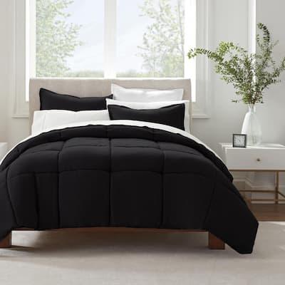Simply Clean 3-Piece Black Solid Microfiber King Comforter Set