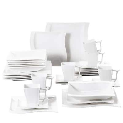 Flora 30-Piece White Porcelain Dinnerware Set Square Dinner Plates Cup and Saucer Set (Service for 6)