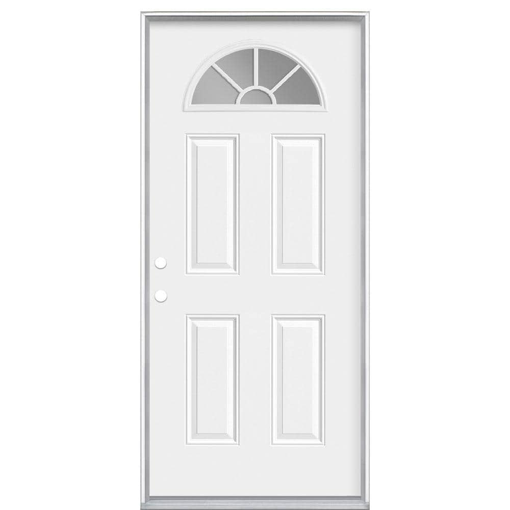 Masonite 36 In X 80 In Premium Fan Lite Right Hand Inswing Primed Steel Prehung Front Door With No Brickmold 27983 The Home Depot