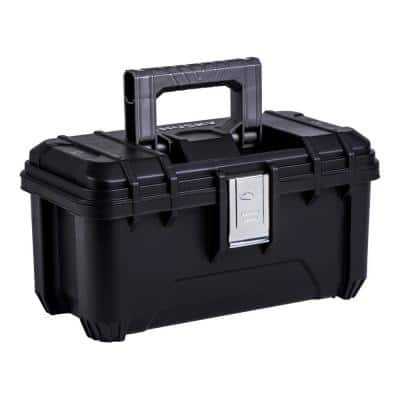 16 in. Plastic Portable Tool Box with Metal Latches in Black