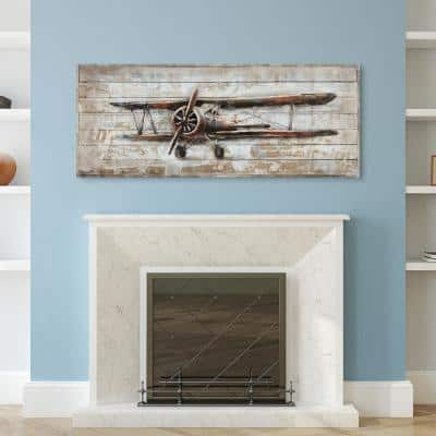 """Model airplane"" Metallic Handed Painted Rugged Wooden Blocks Wall Decor"