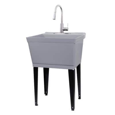 Complete 22.875 in. x 23.5 in. Grey 19 Gal. Utility Sink Set with Metal Hybrid Stainless Steel Pull-Down Faucet