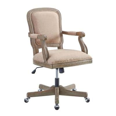 Traditional 41 in. H Brown Wooden Office Chair with 5-Spoke Base and Manchette