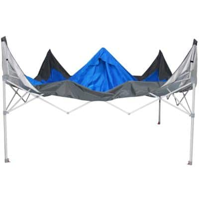 12 ft. x 12 ft. Blue Mega Shade Pop-Up Canopy with Grey Trim