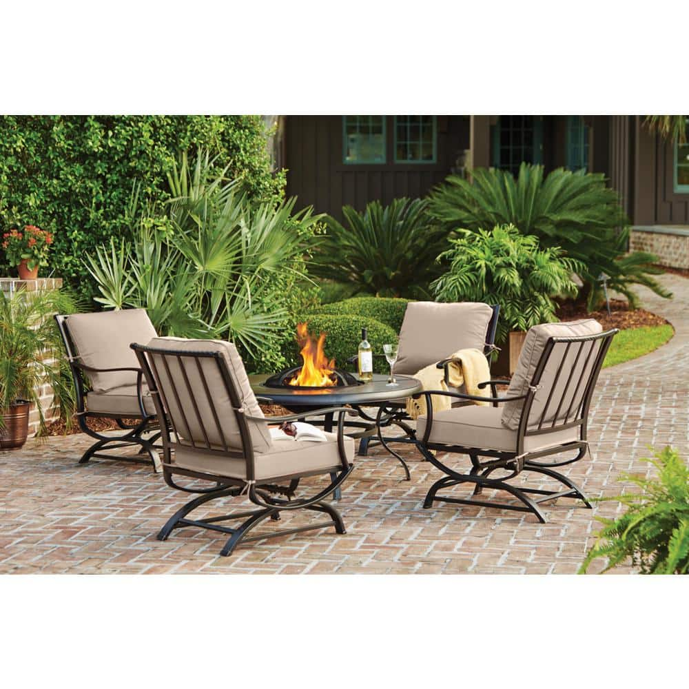 Hampton Bay Redwood Valley Black 5 Piece Steel Outdoor Patio Fire Pit Seating Set With Cushionguard Putty Tan Cushions H132 01202400 The Home Depot