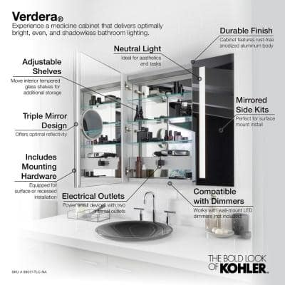 Verdera 40 in. x 30 in. Recessed or Surface Mount Lighted Medicine Cabinet with Mirror