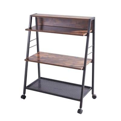 35 in. H Brown Wood 3-Shelf Ladder Bookcase with Open Back and Wheels