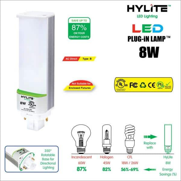 Hy Lite 8w Pl Led Lamp 18w 26w Cfl Equivalent 3500k 920 Lumens Ballast Bypass 120 277v Ul Listed 10 Pack Hl G24 8w 35k The Home Depot