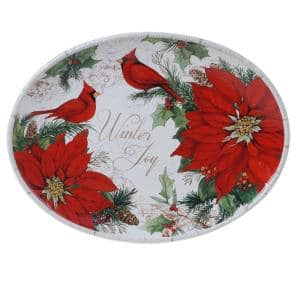 Winters Garden Multicolored Earthenware 16 in. Oval Platter