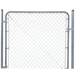 6 ft. W x 6 ft. H Galvanized Metal Adjustable Single Walk-Through Chain Link Fence Gate