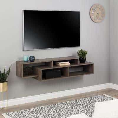 Modern Drifted Gray Wall Mounted Media Console and Storage Shelf
