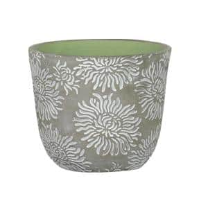 Flora 6 in. Mum Gray Cement Planter with Green Interior